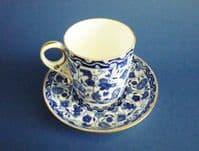 Fine Crown Derby 'Wilmot' Coffee Can and Saucer c1883
